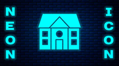 Glowing neon House icon isolated on brick wall background. Home symbol. Vector Illustration