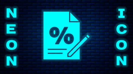 Glowing neon Finance document icon isolated on brick wall background. Paper bank document for invoice or bill concept. Vector Illustration Иллюстрация
