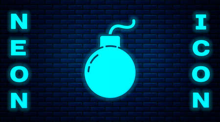Glowing neon Bomb ready to explode icon isolated on brick wall background. Vector Illustration