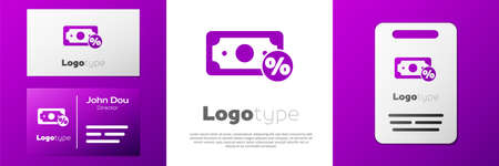 Logotype Money percent icon isolated on white background. Percent loyalty wallet sign. Logo design template element. Vector Illustration
