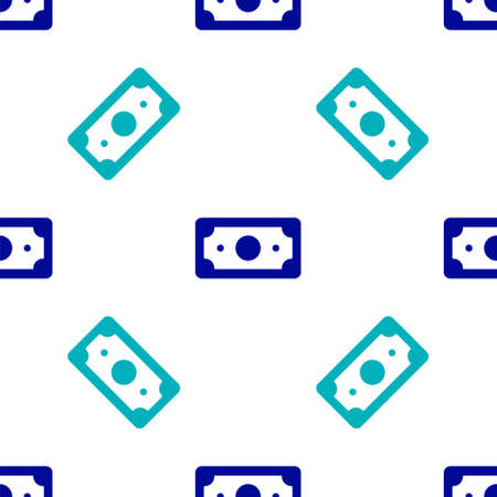 Blue Stacks paper money cash icon isolated seamless pattern on white background. Money banknotes stacks. Bill currency. Vector Illustration Иллюстрация