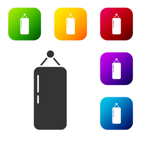 Black Punching bag icon isolated on white background. Set icons in color square buttons. Vector Illustration