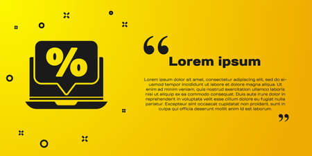 Black Percent discount and laptop icon isolated on yellow background. Sale percentage - price label, tag. Vector Illustration