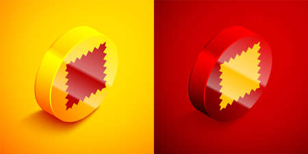 Isometric Leather icon isolated on orange and red background. Circle button. Vector Illustration