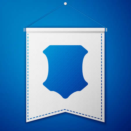 Blue Leather icon isolated on blue background. White pennant template. Vector Illustration Иллюстрация