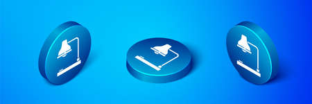 Isometric Table lamp icon isolated on blue background. Table office lamp. Blue circle button. Vector Illustration Иллюстрация