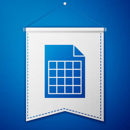 Blue File document icon isolated on blue background. Checklist icon. Business concept. White pennant template. Vector Illustration