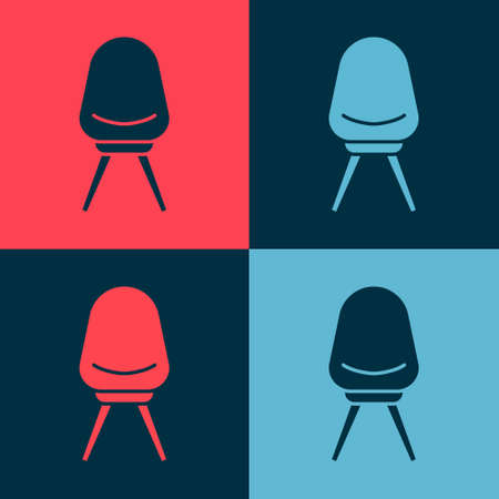 Pop art Office chair icon isolated on color background. Vector Illustration