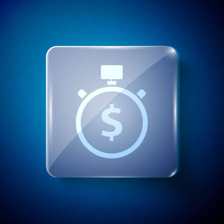 White Time is money icon isolated on blue background. Money is time. Effective time management. Convert time to money. Stopwatch. Square glass panels. Vector Illustration Иллюстрация