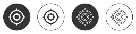 Black Target sport icon isolated on white background. Clean target with numbers for shooting range or shooting. Circle button. Vector Illustration