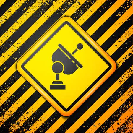 Black Radar icon isolated on yellow background. Search system. Satellite sign. Warning sign. Vector Illustration Ilustração
