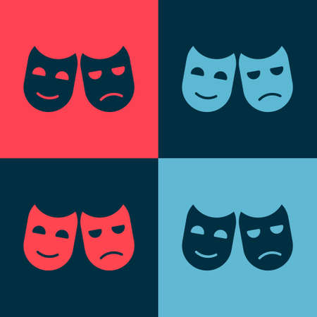 Pop art Comedy and tragedy theatrical masks icon isolated on color background. Vector Illustration
