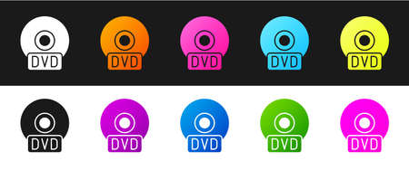Set CD or DVD disk icon isolated on black and white background. Compact disc sign. Vector Illustration