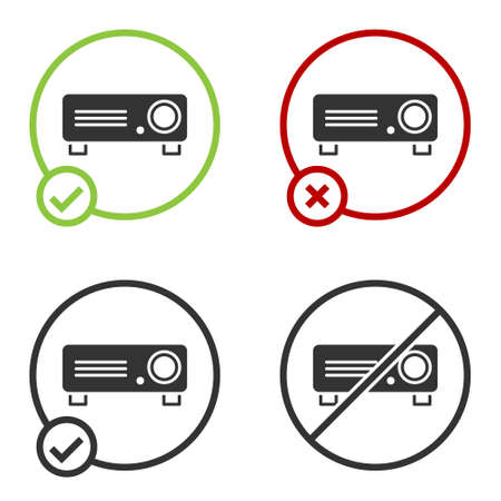Black Presentation, movie, film, media projector icon isolated on white background. Circle button. Vector Illustration