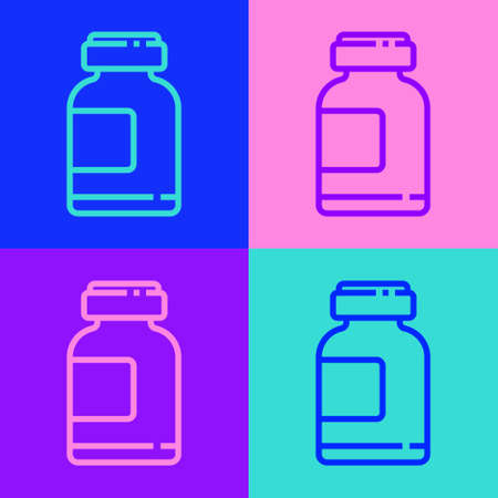 Pop art line Sports nutrition bodybuilding proteine power drink and food icon isolated on color background. Vector Illustration Иллюстрация