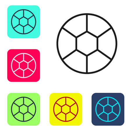 Black line Football ball icon isolated on white background. Soccer ball. Sport equipment. Set icons in color square buttons. Vector Illustration Иллюстрация