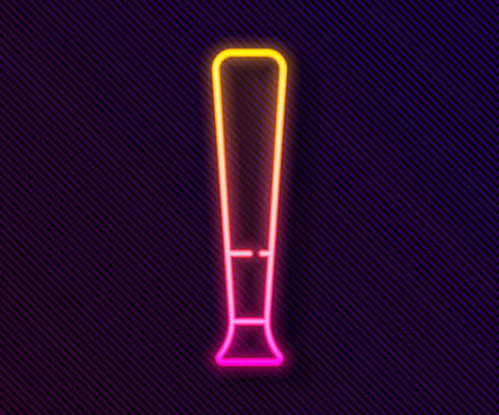 Glowing neon line Baseball bat icon isolated on black background. Sport equipment. Vector Illustration Иллюстрация