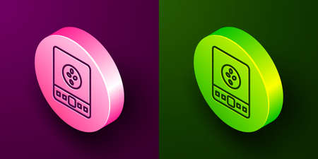 Isometric line Electronic coffee scales icon isolated on purple and green background. Weight measure equipment. Circle button. Vector Illustration