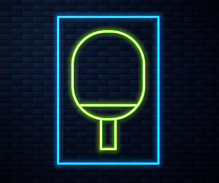 Glowing neon line Racket for playing table tennis icon isolated on brick wall background. Vector Illustration