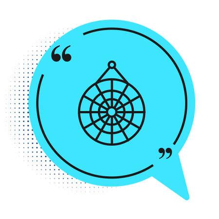 Black line Classic dart board and arrow icon isolated on white background. Dartboard sign. Game concept. Blue speech bubble symbol. Vector Illustration Ilustração