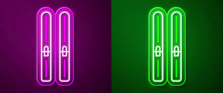 Glowing neon line Ski and sticks icon isolated on purple and green background. Extreme sport. Skiing equipment. Winter sports icon. Vector Illustration