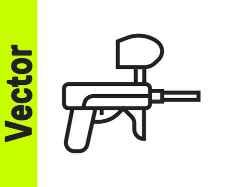 Black line Paintball gun icon isolated on white background. Vector Illustration