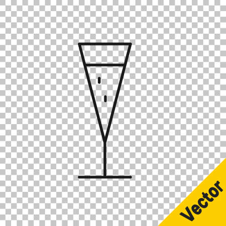 Black line Glass of champagne icon isolated on transparent background. Vector Illustration
