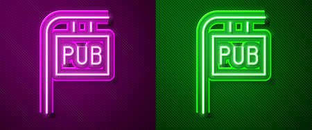 Glowing neon line Street signboard with inscription Pub icon isolated on purple and green background. Suitable for advertisements bar, cafe, restaurant. Vector Illustration Ilustrace