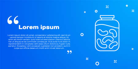 White line Pickled cucumbers in a jar icon isolated on blue background. Vector Illustration
