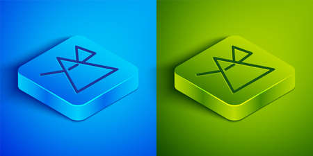 Isometric line Light rays in prism icon isolated on blue and green background. Ray rainbow spectrum dispersion optical effect in glass prism. Square button. Vector Illustration