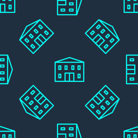 Green line School building icon isolated seamless pattern on blue background. Vector Illustration Ilustrace