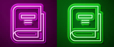Glowing neon line Book icon isolated on purple and green background. Vector Illustration