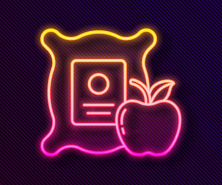 Glowing neon line Apple in the sack icon isolated on black background. Apples in a canvas bag. Farmers market. Vector Illustration