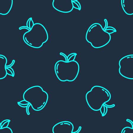 Green line Apple icon isolated seamless pattern on blue background. Fruit with leaf symbol. Vector Illustration