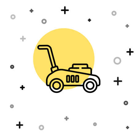 Black line Lawn mower icon isolated on white background. Lawn mower cutting grass. Random dynamic shapes. Vector Illustration