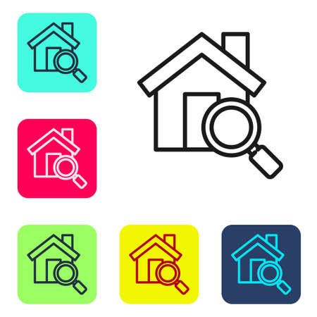 Black line Search house icon isolated on white background. Real estate symbol of a house under magnifying glass. Set icons in color square buttons. Vector Illustration Illustration