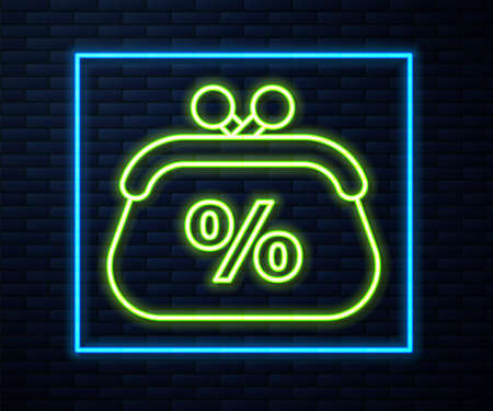 Glowing neon line Purse money percent icon isolated on brick wall background. Percent loyalty wallet sign. Vector Illustration