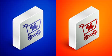 Isometric line Shopping cart icon isolated on blue and orange background. Online buying concept. Delivery service sign. Supermarket basket symbol. Silver square button. Vector Illustration
