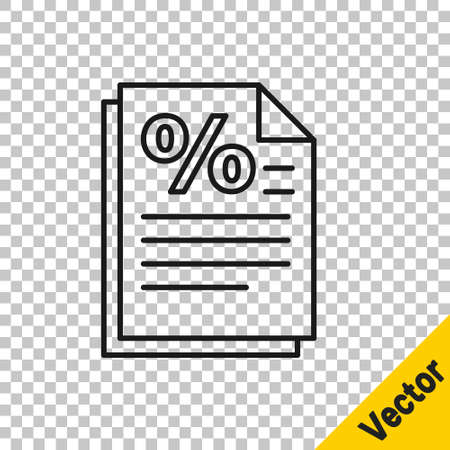 Black line Finance document icon isolated on transparent background. Paper bank document for invoice or bill concept. Vector Illustration Иллюстрация