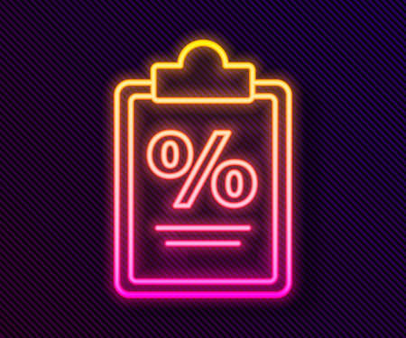 Glowing neon line Finance document icon isolated on black background. Paper bank document for invoice or bill concept. Vector Illustration