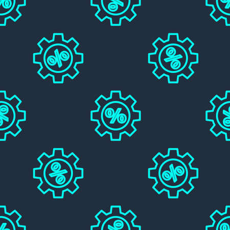 Green line Gear with percent icon isolated seamless pattern on blue background. Vector Illustration