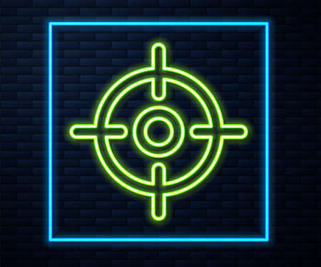 Glowing neon line Target sport icon isolated on brick wall background. Clean target with numbers for shooting range or shooting. Vector Illustration