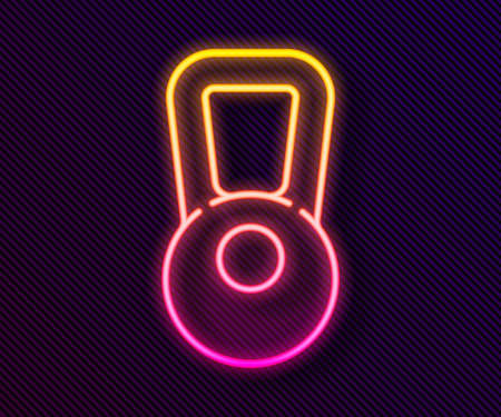 Glowing neon line Kettlebell icon isolated on black background. Sport equipment. Vector Illustration