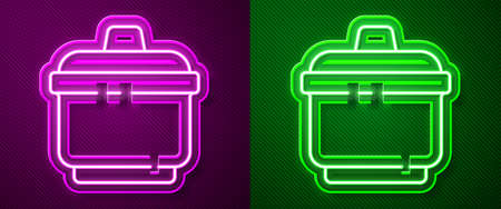 Glowing neon line Cooking pot icon isolated on purple and green background. Boil or stew food symbol. Vector Illustration