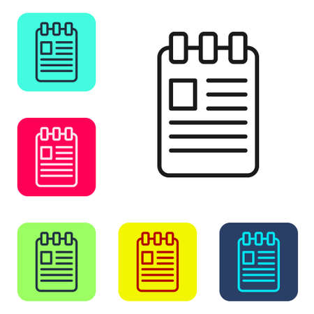 Black line Notebook icon isolated on white background. Spiral notepad icon. School notebook. Writing pad. Diary for school. Set icons in color square buttons. Vector Illustration Illustration