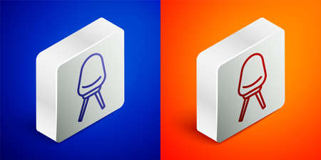 Isometric line Office chair icon isolated on blue and orange background. Silver square button. Vector Illustration Иллюстрация