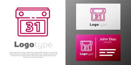 Logotype line Calendar icon isolated on white background. Event reminder symbol. Logo design template element. Vector Illustration