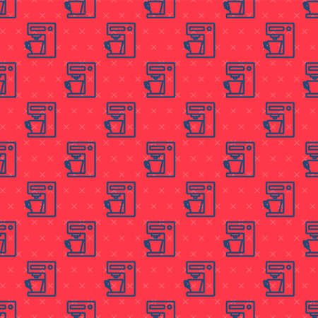 Blue line Coffee machine icon isolated seamless pattern on red background. Vector Illustration