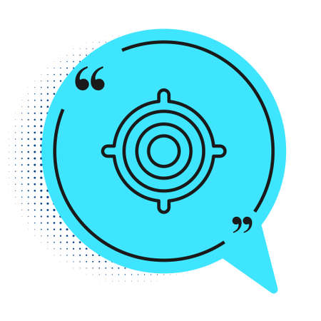 Black line Target sport icon isolated on white background. Clean target with numbers for shooting range or shooting. Blue speech bubble symbol. Vector Illustration
