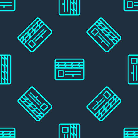 Green line Movie clapper icon isolated seamless pattern on blue background. Film clapper board. Clapperboard sign. Cinema production or media industry. Vector Illustration 向量圖像